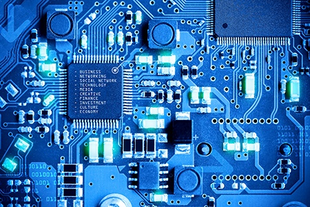 close up electronic circuit board technology style concept